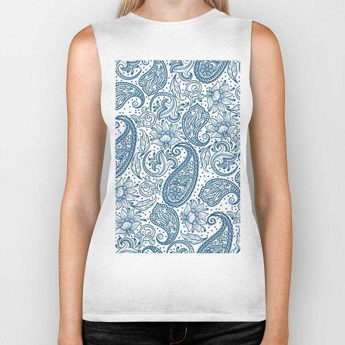 Blue ethnic ornate floral paisley pattern Biker Tank