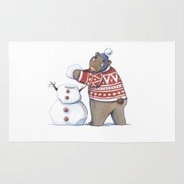 Bear with snowman Rug