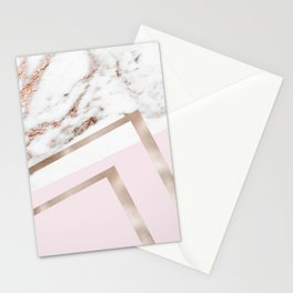 Geometric marble - luxe rose gold edition I Stationery Cards
