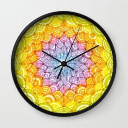 Abstract Round Wreath composition rainbow frame. simple Nature rainbow background with Asian wave Wall Clock