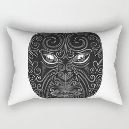 Maori Mask Scratchboard Rectangular Pillow