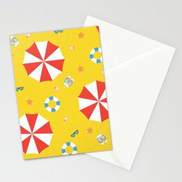 Red and White Beach Sun Umbrella Beach Vacation Stationery Cards