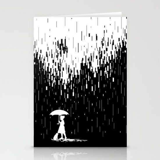 Pixel Rain Stationery Cards