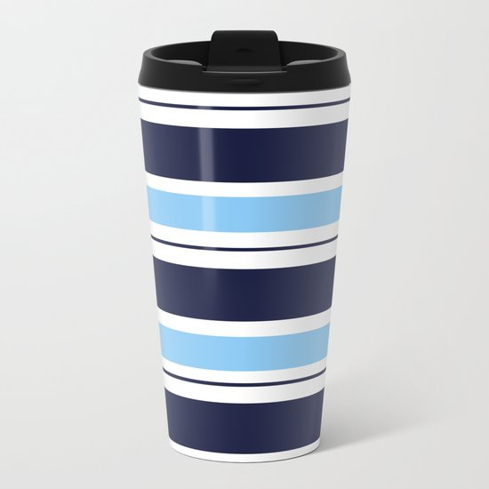 Blue Navy and Turquoise Stripes Metal Travel Mug