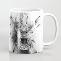 lion Mugs featuring STONE LION by Alexis Marcou