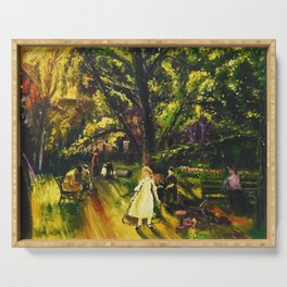 Sunday in Gramercy Park, NYC landscape painting by George Wesley Bellows Serving Tray