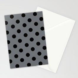 Grey & Black Polka Dots Stationery Cards