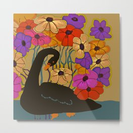 Swan Swimming Through Flowers Metal Print