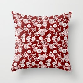 Red and White Vintage Florals Collage Throw Pillow