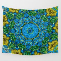 Lovely Healing Mandalas in Brilliant Colors: Blue, Gold, and Green Wall Tapestry