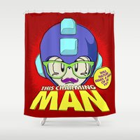 smiths Shower Curtains featuring 8-bit Smiths - This Charming Mega Man by Butcher Billy