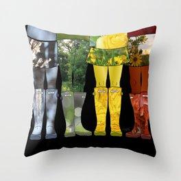 Four Seasons of Wellies Throw Pillow