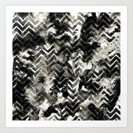 Black & White Chevron Ink Spill Art Print
