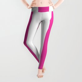 Strong boy pink - solid color - white vertical lines pattern Leggings