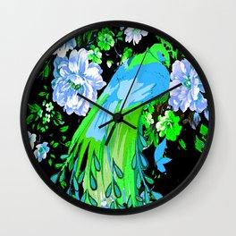 Flower and Peacock Garden Wall Clock