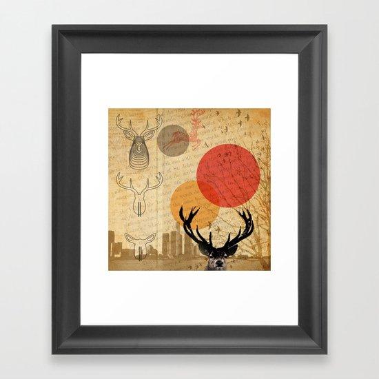 deer in the city Framed Art Print
