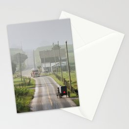 Amish Buggy confronts the Modern World Stationery Cards