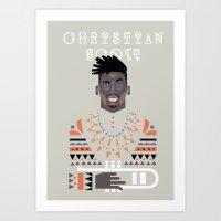 christian schloe Art Prints featuring christian scott by atipo