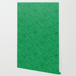 Fractal pattern of black intersecting lines on a lush green background. Wallpaper