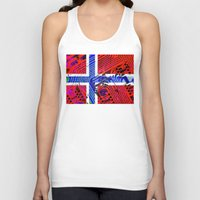 norway Tank Tops featuring circuit board Norway (Flag) by seb mcnulty