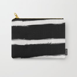 Form Brush Stripe Horizontal White on Black Carry-All Pouch