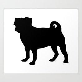 Simple Pug Silhouette Art Print