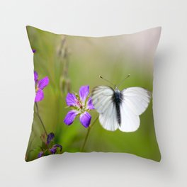 White Butterfly Natural Background #decor #society6 #buyart Throw Pillow