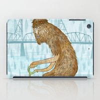 bigfoot iPad Cases featuring Dirty Wet Bigfoot Hipster by Santiago Uceda