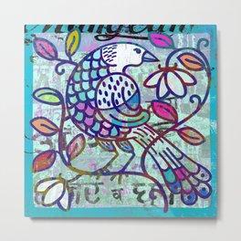 Blue bird on branch print, folk art decor Metal Print