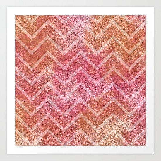 Peach Pink Chevron Art Print