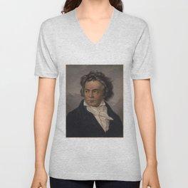 Vintage Portrait of Ludwig van Beethoven (1870) Unisex V-Neck