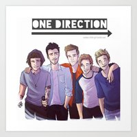 one direction Art Prints featuring One Direction by Nowhere Little Girl
