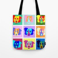 border collie Tote Bags featuring Border Collie Pop Art by Pound Designs