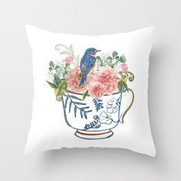 Blue Bird on Vintage Tea Cup Throw Pillow