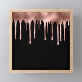 Black & Rose Gold Drip Framed Mini Art Print