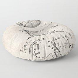 Firemans Helmet Patent - Fire Fighter Art - Antique Floor Pillow