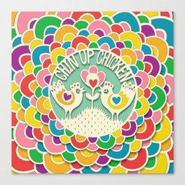 Chin Up Chicken Rainbow Circle Papercut Canvas Print