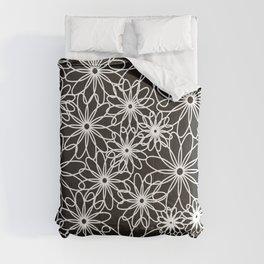White flowers on black Comforters