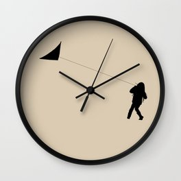 Little Girl with a Kite in Winter Grass Wall Clock