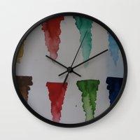 watercolour Wall Clocks featuring Watercolour by Crimson-daisies