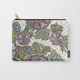 Patterned Flowers on a Grid Carry-All Pouch