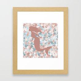 Elegant Mermaid Blush, Pink, Coral, Aqua, Teal Framed Art Print