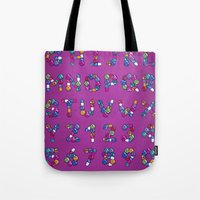 font Tote Bags featuring Pills Font by Mnk Crew