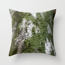 Birch Bark Pattern Green and White Wood Pattern Bring the Outdoors In Throw Pillow