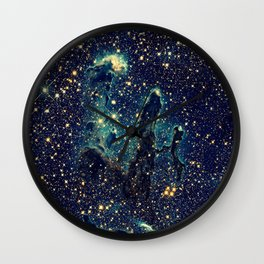 Pillars of Creation GalaxY  Teal Blue & Gold Wall Clock