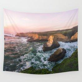 Golden California Coastline - Santa Cruz, California Wall Tapestry