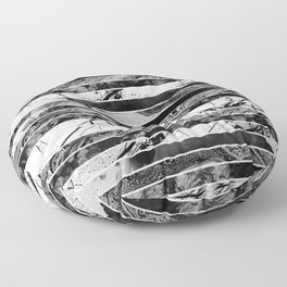Black And White Layered Collage - Textured, mixed media Floor Pillow