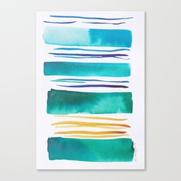 14   |181026 Lines & Color Block | Watercolor Abstract | Modern Watercolor Art Canvas Print