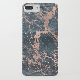 Blue & Rose Gold Marble iPhone Case