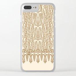 Sepia Macramé Arrowhead Chenille Lace Pattern Clear iPhone Case